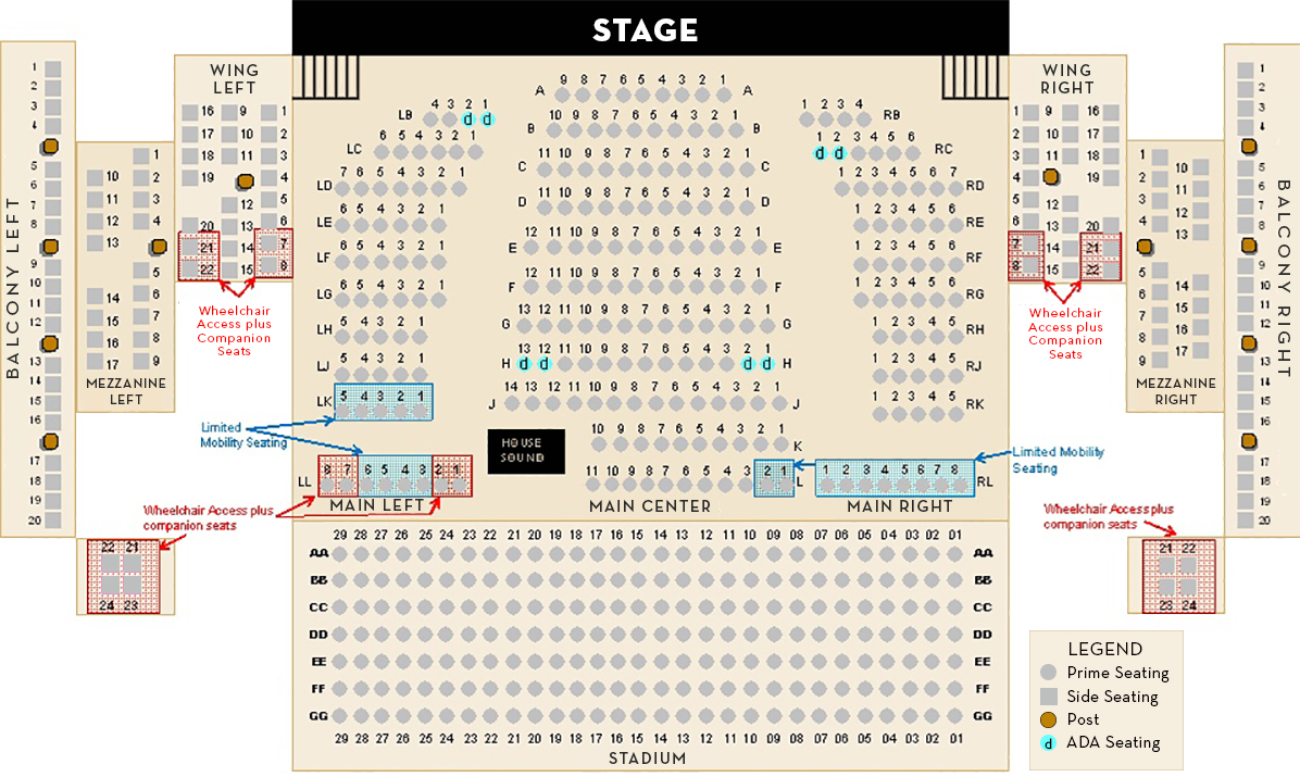 Seating Chart · Schauer Center - Performance Center and School of